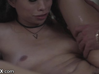 EroticaX - Ebony Teen's Sloppy Blowjob & Passionate Fuck