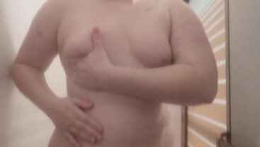 Redhead BBW Plays with her Tits in the Shower