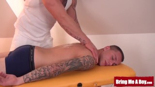 BRINGMEABOY Inked daddy massages young jock by blowjob