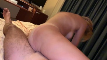 She rides my cock in a Hotel room - twisted position, hard