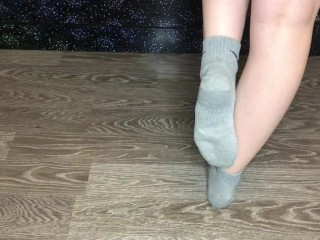 Teen student girl after gym show gray nike socks and foot femdom pov