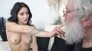 Grandpa sucks girls tits then gets a deepthroat blowjob