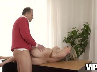 VIP4K. Dirty-minded daddy invites blonde angel Ellen Jess