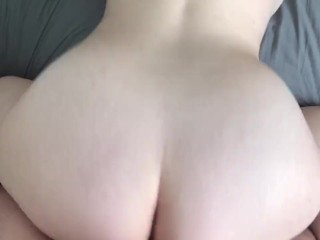 POV Young Bitch Cums Then Throws It Back For Creampie