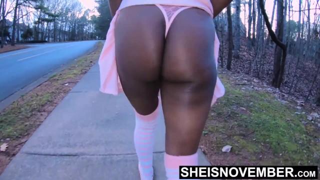 Grass the ass Young ebony slut walk after fucking in grass, step daughter flash ass hd