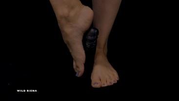 MILF Foot Play with Dildo - Painted Toenails - Ballerina Petite Feet