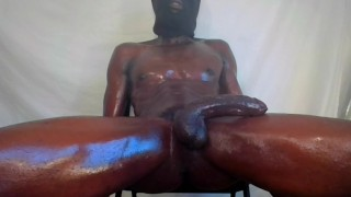 hot Guy Strokes Big Black Oily Dick Dirty Talking Nasty Busting 4 hard nuts