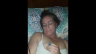 Older woman creams on dick