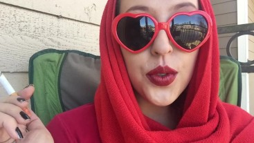 Retro Goddess D Smoking Outside in Red Heart Sunglasses and Red Scarf SFW