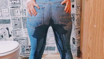 Desperate Jeans Wetting and a Little Pussy Play