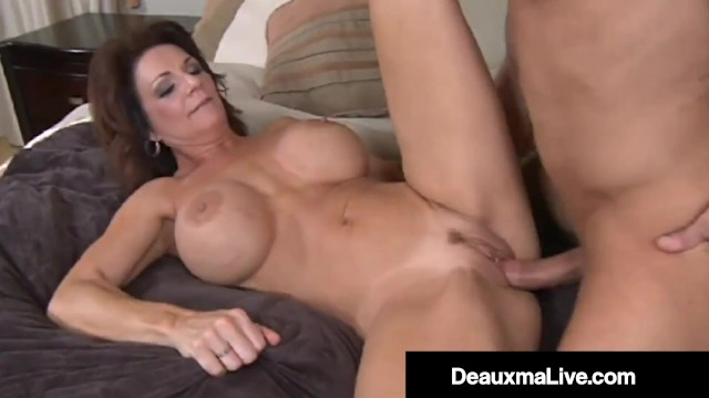 Milking the cock of a man Mature muff deauxma fucks milks younger mans hard cock