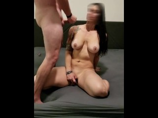 Fit Milf rubs her pussy and cums while husband jerks off on her.