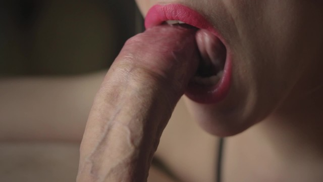 Make up and lipstick cumshots Pulsating cum of lucky dick. close-up oral creampie