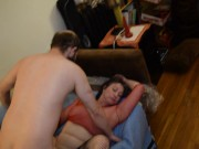 Slut MILF Sucking and Getting Face Fucked, Young Stranger While BF Watches