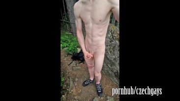 a guy with a beautiful body masturbates and shoots himself