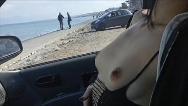 Real amateur wife public flashing near stranger guys
