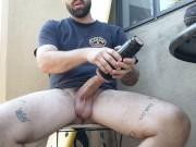 Thick dick stud smokes and fucks Fleshlight outdoors huge cumshot