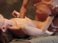 This skinny sex slave gets tied up, face fucked and spanked.