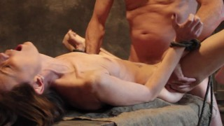 This skinny sex slave gets tied up, face fucked and spanked