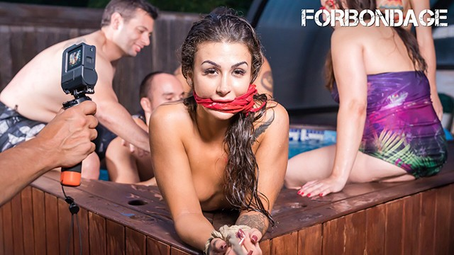 Busty pool butt fuck Crowdbondage - spanish babe susi gala bound fucked at the bdsm pool party