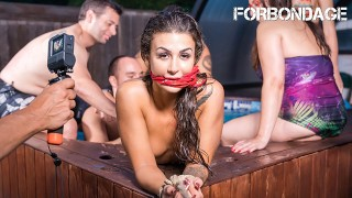 CrowdBondage – Big Tits Babe Bound & Fucked At The Pool Party – ForBondage