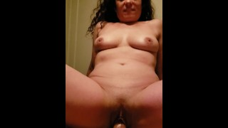 MILF riding dick with family in the next room