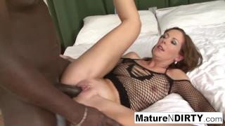 Sexy brunette MILF masturbates before taking a BBC!