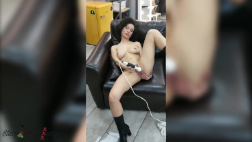 Hot Brunette Play Pussy Sex Toy and Squirting Orgasm - Backstage