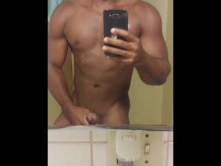 Black Stallion in the bathroom jerking big cock