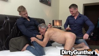 Submissive Gunther Trashed by Two Twinks