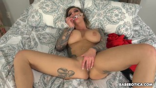 Solo blonde Karma RX is using a glass dildo in 4K