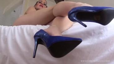 Worship My Blue Suede Shoes - Lady Bellatrix dominates foot boy in pov