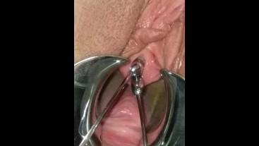 Extreme BDSM female urethral stretching Speculum stretched Peehole fucking