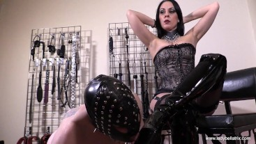 Boots Worshipped in My Dungeon - Lady Bellatrix with thigh high boot licker