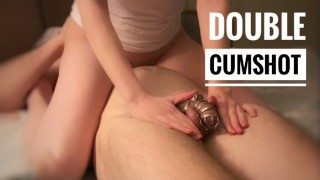 Chastity ▷ Tied balls ▷ Milking ▷ Cumbloking ▷ Double cumshot ▷
