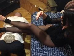 Femdom Funny slave footstool for misrtess - OlgaNovem