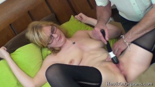 Blonde Babe with Great Tits Gets Pussy Massage To Real Orgasm