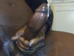 BIG BLACK COCK MILKING MY HARD DICK FOR A HEAVY CUMSHOT