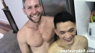 AmateursDoIt - Hung bearded jock fucks tight asian twink bareback