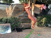 NAKED TRAVELER does NUDE Rope Dance