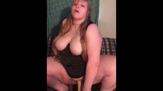 Chubby nympho Pigtailed chubby nympho taking big mounted dildo rough and deep