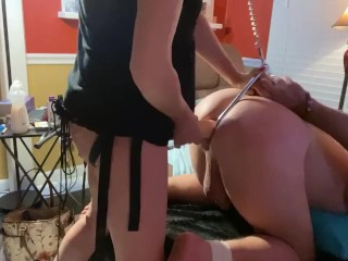 Pegging his ass with anal hook & hand cuffed