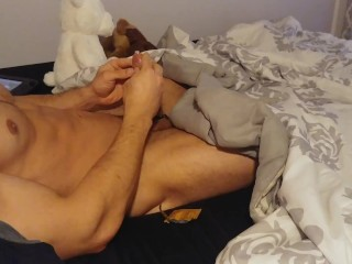 Playing in bed + Putting on a magnum condom