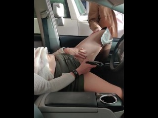Hitachi Masturbation in Public I Cum After Men Watch & Touch My Pussy Tits