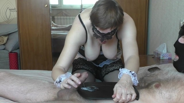 Cunt licking man - Maid brought me coffee and lick my nipples, i cum hands free and fed her