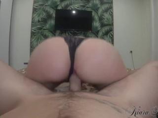 Beautiful KiaraHills Sensual Blowjob and Hard Cowgirl Big Cock Closeup