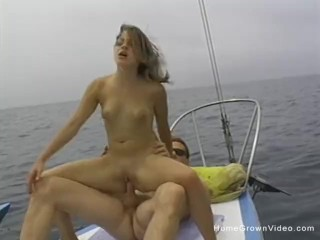 Cute blonde amateur sucks and fucks on a sailboat
