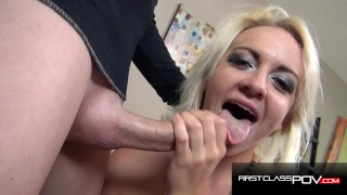 Young Blonde Teen with Braces Throating & Fucking a Huge Cock in POV