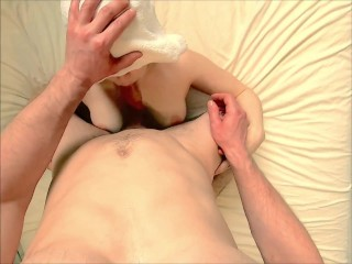 Step sister wanted massage, but got a hard cock in her mouth and ass