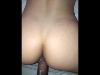 Bubble butt 18 year old creams on BBC